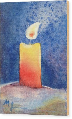 Candle Glow Wood Print by Marilyn Jacobson