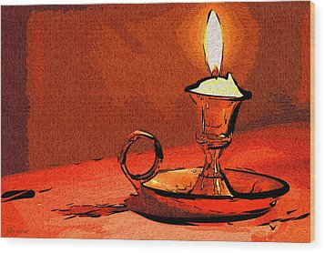Wood Print featuring the painting Candle Lamp by Tyler Robbins