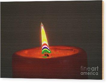 Candle Light Wood Print by Carol Lynch