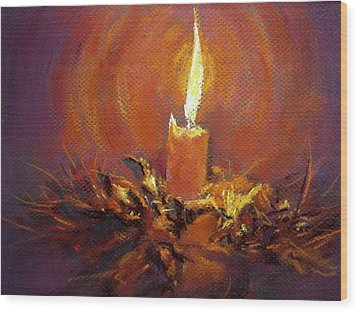 Wood Print featuring the painting Candlelight by Jieming Wang