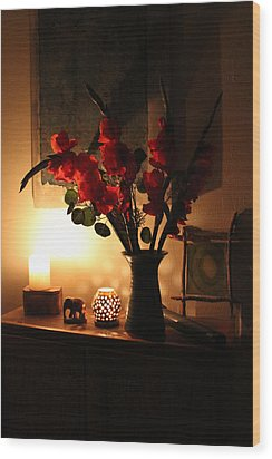 Candles And Orange Gladiolus Wood Print by Ron McMath