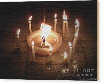 Candles For Innocent Souls Wood Print by Karam Halim