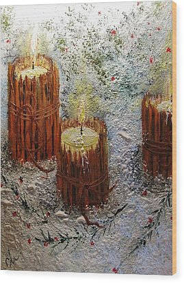 Wood Print featuring the painting Candles In The Snow.. by Cristina Mihailescu