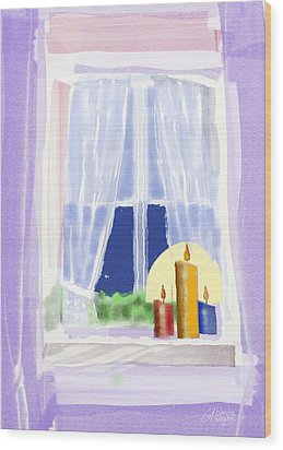 Wood Print featuring the digital art Candles In The Window by Arline Wagner