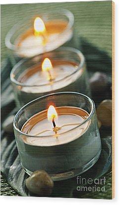 Candles On Green Wood Print by Elena Elisseeva