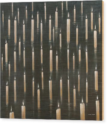 Candles On The Lake Udaipur India Wood Print by Lincoln Seligman