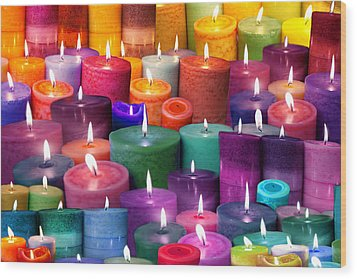 Candles Rainbow Colours Wood Print by Alixandra Mullins