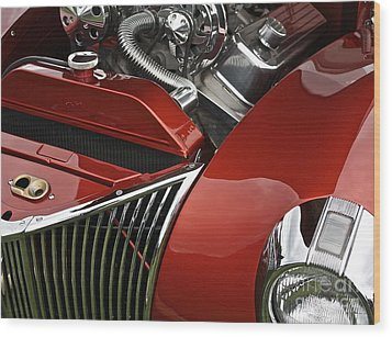 Candy Apple Red And Chrome Wood Print