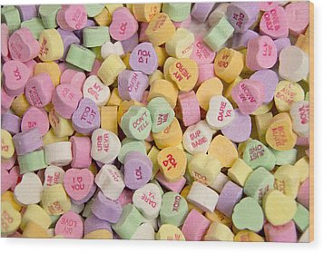 Candy Heart Message 2 Wood Print by Regina  Williams