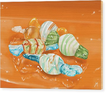 Candy Wood Print by Veronica Minozzi