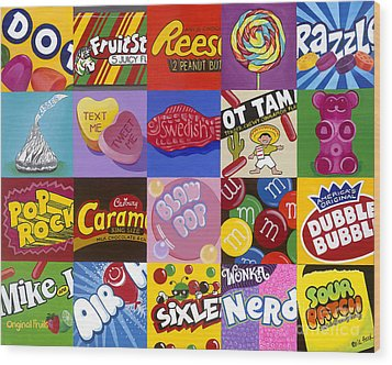 Candy Wrappers Wood Print by Carla Bank