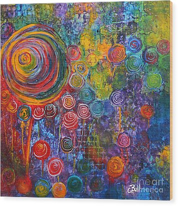 Candyland Wood Print by Claire Bull