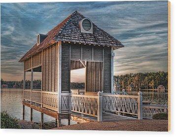 Canebrake Boat House Wood Print by Brenda Bryant