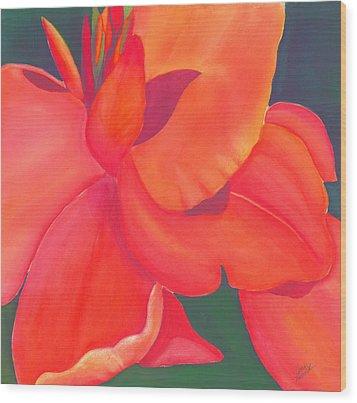 Canna Lily Wood Print by Debbra Nodwell-Bender