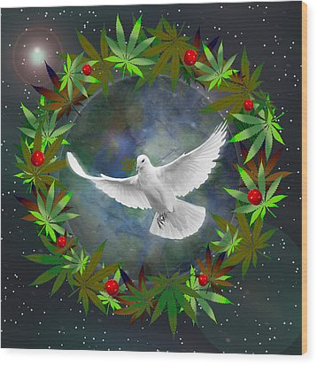 Cannabis Around The World Wood Print by Barbara Giordano