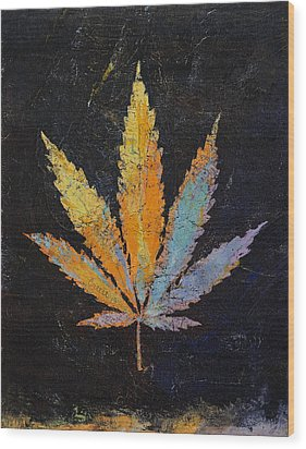 Cannabis Wood Print by Michael Creese