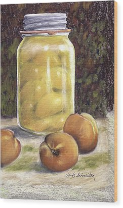 Wood Print featuring the painting Canned Peaches by Claude Schneider