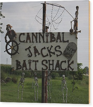 Cannibal Jacks Bait Shack Wood Print by Terry Scrivner