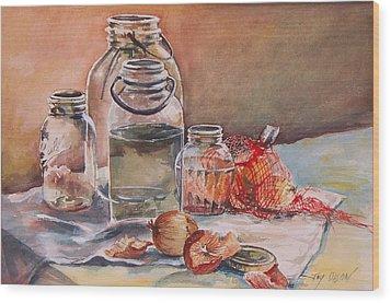 Canning Jars And Onions Wood Print by Joy Nichols