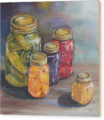 Canning Jars Wood Print by Kristine Kainer