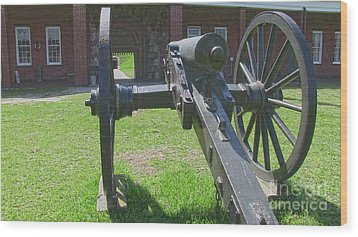 Cannon At Fort Pulaski Main Entrance Wood Print by D Wallace