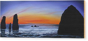 Cannon Beach At Sunset 16 Wood Print by Portland Art Creations