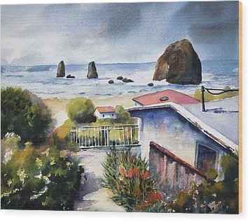 Wood Print featuring the painting Cannon Beach Cottage by Marti Green