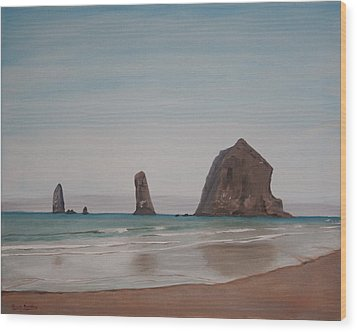 Cannon Beach Haystack Rock Wood Print by Ian Donley