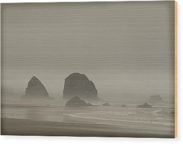 Wood Print featuring the photograph Cannon Beach In A Fog Oregon by Yulia Kazansky
