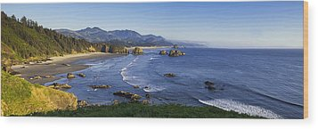 Cannon Beach Panorama Wood Print by Andrew Soundarajan