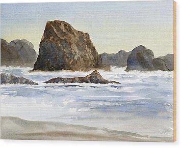Cannon Beach Rocks With Waves Wood Print by Sharon Freeman