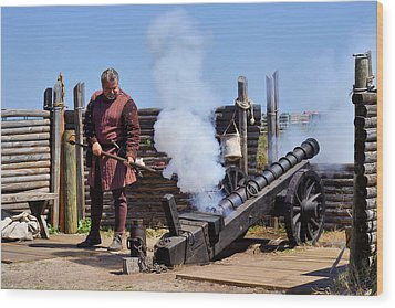 Cannon Firing At Fountain Of Youth Fl Wood Print by Christine Till