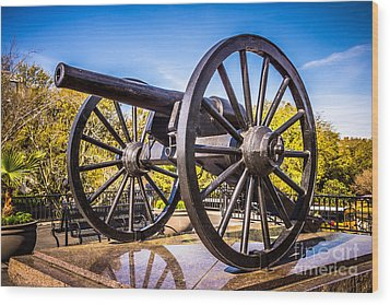 Cannon In New Orleans Washington Artillery Park Wood Print by Paul Velgos