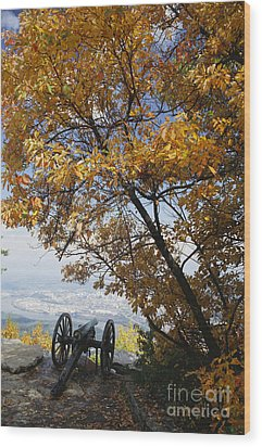 Cannon On Top Of Lookout Mountain Wood Print by Bruce Roberts