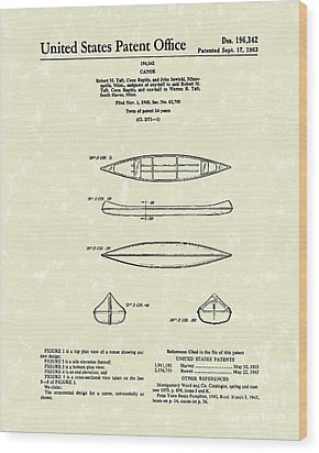 Canoe 1963 Patent Art Wood Print by Prior Art Design