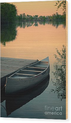Canoe At A Dock At Sunset Wood Print by Jill Battaglia