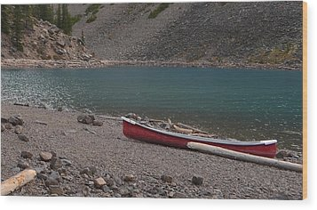 Canoe At Moraine Lake Wood Print by Cheryl Miller