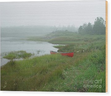 Canoe At Point Of Maine Wood Print by Christopher Mace