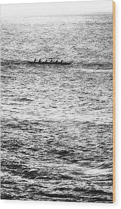 Canoe Glitter Wood Print by Sean Davey