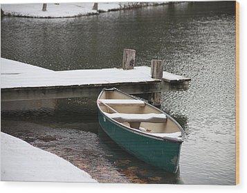 Canoe In Winter Wood Print