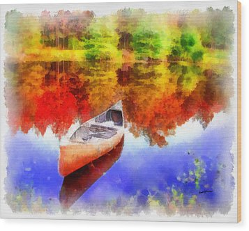 Canoe On Autumn Pond Wood Print by Anthony Caruso