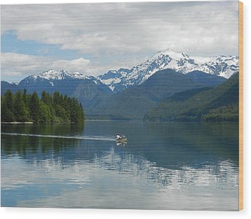 Canoe On Baker Lake Wood Print by Karen Molenaar Terrell