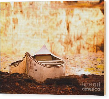 Canoe On Caddo Lake Wood Print by Sonja Quintero