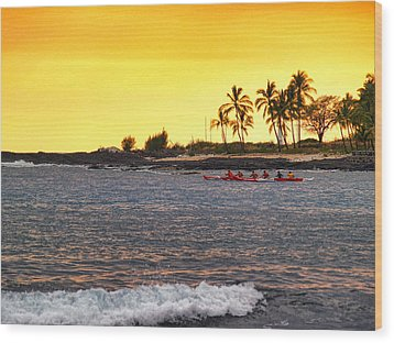 Canoe On Kona Coast Wood Print by Athala Carole Bruckner