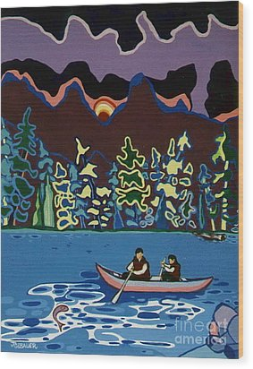 Canoe On Lightning Lake Wood Print