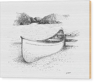 Canoe On The Beach Wood Print by Steve Knapp