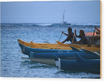 Canoe Paddling Wood Print by Saya Studios