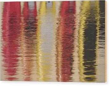 Canoe Reflections Wood Print by Carolyn Reinhart