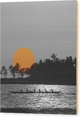 Canoe Ride In The Sunset Wood Print by Athala Carole Bruckner