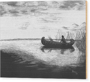 Canoe Silhouette Wood Print by Lawrence Tripoli